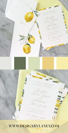 We love how the Lemon Citrus wedding invite embodies a Mediterranean vibe, and we imagine sipping Limoncello by the sea while opening this yellow and green watercolor invitation set! The back of the invitation serves as an art piece for your guests to keep! Mix and match envelope and text colors to make this wedding invite ideal for your Big Day. See below for all the details and corresponding pieces!