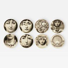 Piero Fornasetti Set of Eight Fornasetti Ceramic Plates Italy 1980s