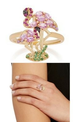 This is gorgeous! Yvonne Leon Pink Flamingo Ring.  #ad #flamingos #pinkflamingo #jewelry #rings #yvonneleon