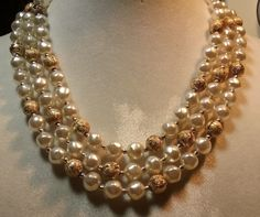 "Vintage Jewelry: 15"" Japan Triple Strand Faux Pearl Necklace 2016080109…"