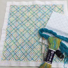 Finished! Hitomezashi (one stitch sashiko) linked crosses pattern.