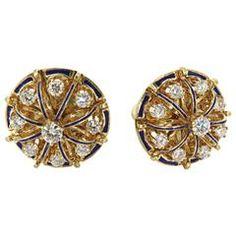 Enamel Diamond Gold Earrings