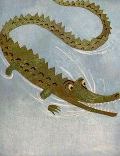 ALLIGATOR nursery print, Alligator swimming in the river,  vintage children's illustration by Duvoisin, nursery decor on Etsy, $18.50