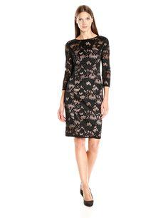 Adrianna Papell Women's Carol Lace Contrast Sheath Dress, Black/Pale Pink, 4