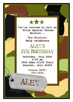 Army Invitations, Camo Invitations, Army birthday party, Camouflage, Dog tag, Children, Boys
