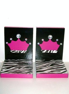 Hey, I found this really awesome Etsy listing at http://www.etsy.com/listing/84233535/bookends-hot-pink-and-zebra-with-crown