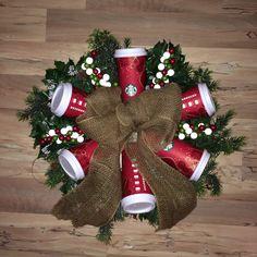 DIY Starbucks red holiday cup wreath! @Penn Foster #bemorefestive