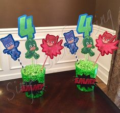 PJ Masks Custom Centerpieces.