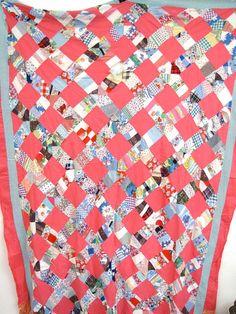 Feedsack cotton quilt top 1940s 50s Vintage Pink by AustinModern, $45.00