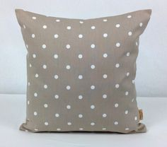 This is for one 16 inch x 16 inch Taupe with white polka dots double sided cushion cover. This cushion cover comes in a Taupe dotty fabric on both sides of the cushion cover. With an invisible zip which is at the bottom of the cushion cover, This give . Cushion Pads, Cushion Covers, Throw Pillow Covers, Pillow Shams, Throw Pillows, Polka Dot Fabric, Polka Dots, Clarke And Clarke Fabric, Bee Design