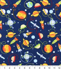 Cotton baby rib knit rockets white multi from for Space flannel fabric