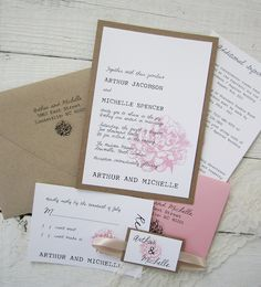Rustic Peony Wedding Invitation - Pink Vintage Lace Nature Floral Kraft Ribbon.  Purchase this Deposit to get started.. $100.00, via Etsy.