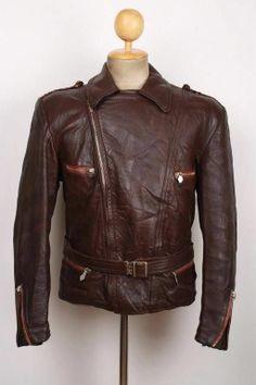 Vtg 1940s German Brown Leather Motorcycle Jacket LUFTWAFFE Hartmann Medium
