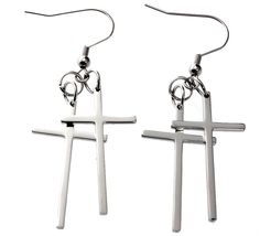 R.h. Jewelry Stainless Steel Double Cross Dangle Earring >>> A special jewelry just for you to view. See it now! : Jewelry