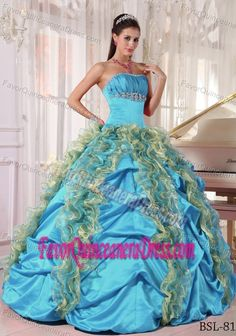 9f019d9132f Buy strapless colorful full length sweet sixteen dress with ruffles and pick  ups from classic quinceanera dresses collection