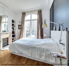 """Dark wall, moulded ceiling and beautiful parquet for a great bedroom ! The """"+""""…"""