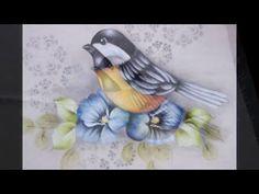 Pintura em tecido -  Como pintar passarinho.