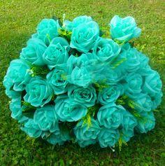 Mint Robin BlueRed Royal Blue Rose 36 Head Silk Flower Wedding Decor by sophieliu2 on Etsy