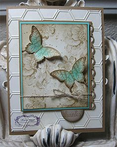 "Project #1: Stippled Blossoms (Inspired by Buffy Allen, Easton, PA) Card Stock: Baked Brown Sugar, Coastal Cabana, Very Vanilla, Crumb Cake Ink: Baked Brown Sugar, Crumb Cake, Soft Suede Stamp Sets: Stippled Blossoms, Papillion Potpourri, Fabulous Phrases, Gorgeous Grunge Punch: Scallop Trim Border, Elegant Butterfly, 1"" circle Big Shot: Honeycomb Embossing Folder Tool: Stamp-a-ma-jig Accent: Dazzling Details, Linen Thread"