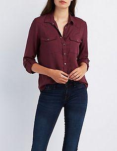 Flap Pocket Button-Up Shirt