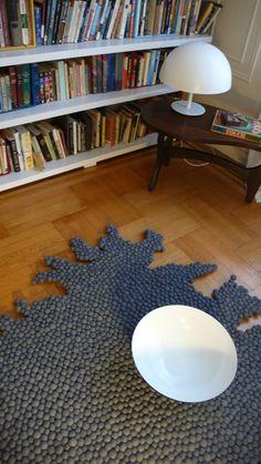 Playtest grey carpet  - Handmade irregular rug. $525.00, via Etsy.