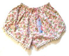 White Flamingo Print Pom Pom shorts by ThePinkFlamingoEtsy on Etsy