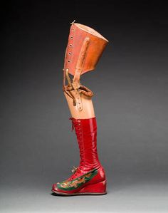Prosthetic leg with leather boot. Appliquéd silk with embroidered Chinese motifs. From Frida Kahlo: Making Her Self Up, 16 November. Diego Riviera and Frida Kahlo Archives Frida Kahlo Exhibit, Diego Rivera Frida Kahlo, Edward Weston, Victoria And Albert Museum, Vogue Paris, Madonna, Brooklyn, Frida Art, Prosthetic Leg