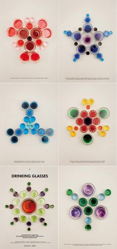 Patterns created by photographing glasses of coloured water. So clever.