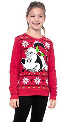 Disney Girls Minnie Mouse Holiday Print Sweatshirt Medium * Click for Special Deals  #DisneyforGirls
