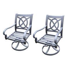 allen   roth�Set of 2 Newstead Gray Textured Slat Seat Aluminum Swivel Rocker Patio Dining Chairs