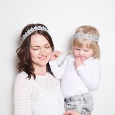 Silver Crown Headband Set, Mother Daughter Matching Headband Set, Flower Girl Crown, Princess Crowns, Birthday Crowns, Cosplay Headpiece by KeraSoftwear on Etsy