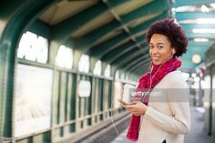 Stock Photo : Smiling young woman waiting at subway station Train Station, Still Image, Listening To Music, Young Women, Royalty Free Images, Waiting, Presentation, Smartphone, Photoshoot