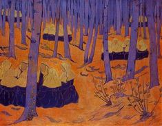 Breton Women, the Meeting in the Sacred Grove by Paul Serusier French - He was a painter who was a pioneer of abstract art and an inspiration for the avant-garde Nabi movement, Synthetism and Cloisonnism (wikiart) Maurice Denis, Pierre Bonnard, Paul Gauguin, Paul Cézanne, Edouard Vuillard, Sacred Groves, Impressionist Artists, Artist Quotes, Art Database