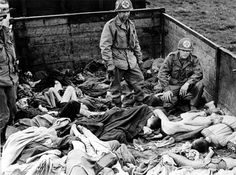 American troops find a boxcar full of bodies at the liberation of the Dachau concentration camp, April 29th 1945