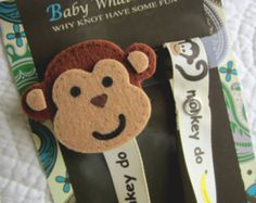 Baby Pacifier Clip, Monkey Pacifier Clip, Baby Pacifier Clip, Pacifier Holder, pcmonkey01
