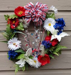 4th of July Patriotic wreath red white and blue