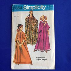 Simplicity Caftan Sewing Pattern VTG 1969 Dress One Size Fit All Uncut Hippie #Simplicity #ProportionedinHeight