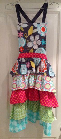 New Ruffle Apron Pattern - Miss Modern Sample, fabrics by Michael Miller