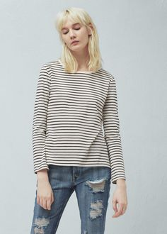 Striped cotton t-shirt   MANGO