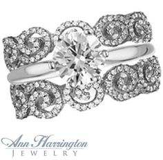 close, but still not it..... 14k White, Yellow Gold or Platinum .82 ct tw Diamond Filigree Scroll Design Antique Style Ring Guard
