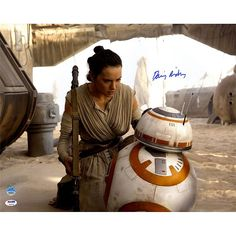 "Star Wars Daisy Ridley Rey Close-Up with BB-8 16"" x 20"" Signed Poster"