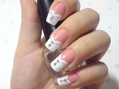 French manicure with white chevron tips nail art and jewels detail. #nails #nailart #manicure