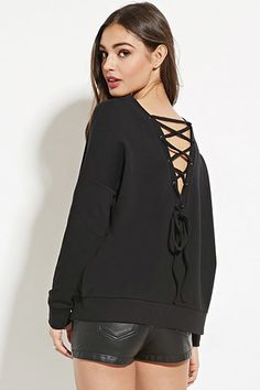 Lace-Up Back Sweatshirt   Forever 21 - 2000182060