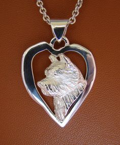 Sterling Silver Norwich Terrier Head Study On A Heart Frame Pendant Dog Jewelry, Unique Jewelry, Norwich Terrier, Heart Frame, What Is It Called, Gift List, Pendants, Pendant Necklace, Chain