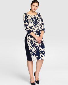 Vestido estampado de mujer talla grande con manga francesa