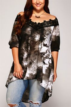 $14.56 Plus Size Lace Patchwork Asymmetrical Blouse