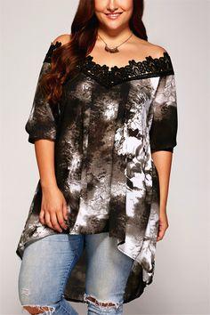 $14.56 Plus Size Lace Patchwork Asymmetrical Blouse