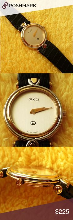 HP 2/10Vintage Gucci 4500l Ladies Watch HP2/10. Vintage Gucci 4500L Ladies Watch 18k 10 micron heavy gold electroplated women's watch. It's in excellent condition. It runs and keeps precise time. The Sapphire crystal is clean and clear with no scratches. The crown is in excellent condition with the twisted double G Gucci logo and the gold plating intact. Original lizard skin strap with gold plated Gucci buckle. Fits up to 7inch wrist comfortably. Gucci Accessories Watches