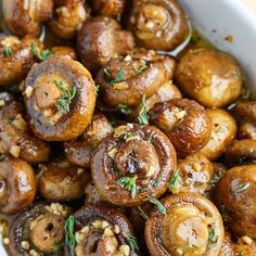 Roasted Mushrooms in a Browned Butter, Garlic and Thyme Sauce @keyingredient