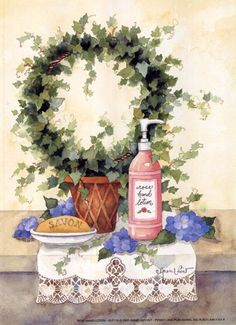 1000+ images about Art ~ Annie Lapoint on Pinterest Hand Lotion, Bathroom Pictures, Country Paintings, Easy Paintings, Vintage Bathrooms, Bathroom Art, Bathroom Colors, Painting Patterns, Wall Prints